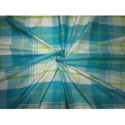 "100% SILK Dupioni FABRIC 60"" wideblue/ivory/lime green plaids DUPC104[1]"