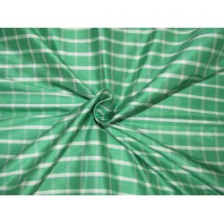 "100% Silk Taffeta Fabric green and white  plaids TAFC65[1] 54"" wide sold by the yard"