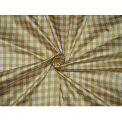 "100% SILK Dupioni FABRIC 54"" wideYELLOW / BEIGE & IVORY color plaids DUPC107[2] sold by the yard"