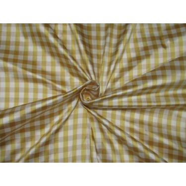 "100% SILK Dupioni FABRIC 54"" wideYELLOW / BEIGE & IVORY color plaids DUPC107[2]"