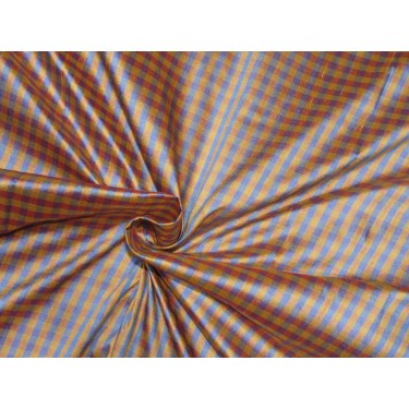 """100% SILK Dupioni FABRIC 54"""" wide  golden yellow blue and pink  color plaids DUPC109[3]"""