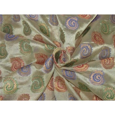 "Brocade fabric Champagne x multi color 44""wide Bro620[4]"