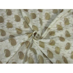 "Brocade fabric Ivory x metallic gold color 44""wide Bro620[3]"