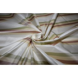 "100% Silk Taffeta Fabric cream ,dusty rose,light olive  Stripes 54"" TAFS160[1]"