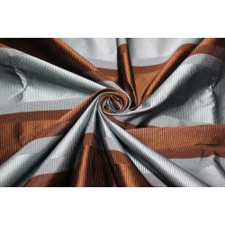 "100% Silk Taffeta Fabric blueish grey and brown ribbed stripe 54"" TAFS156"