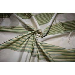 "100% Silk Taffeta Fabric shades of green,gold and cream  Stripes 54"" TAFS161[1]"