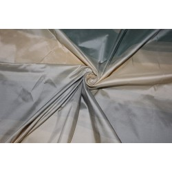 "100% Silk Taffeta Fabric shades of silver mint  and cream  Stripes 54"" TAFS162[1]"