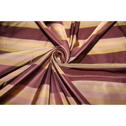 "SILK TAFFETA stripe PLUM AND GOLD fabric 54""TAFS163[1]"