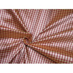 "100% SILK Dupioni FABRIC 54"" wide pink beige and brown coloUr plaids DUPC109[2] sold by the yard"