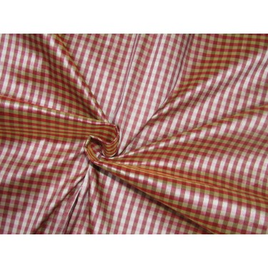 "100% SILK Dupioni FABRIC 54"" wide   pink  beige and brown color plaids DUPC109[2]"