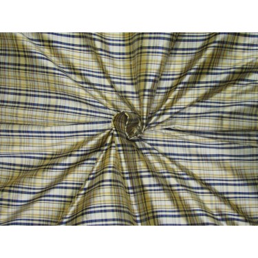 """100% SILK Dupioni FABRIC 54"""" wide  navy and golden yellow  color plaids DUPC106[1]"""