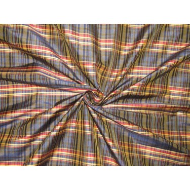 "100% SILK Dupioni FABRIC 54"" wide  red navy and golden yellow   color plaids DUPC107[1]"