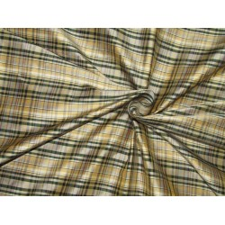 "100% SILK Dupioni FABRIC 54"" wide  green dark beige and  golden yellow  color plaids DUPC106[2]"