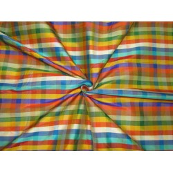 "100% SILK Dupioni FABRIC 54"" wide  MULTI color plaids DUPC110[1] 30 yards"
