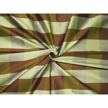 "100% SILK Dupioni FABRIC 54"" wide  BROWN AND OLIVE GREEN  color plaids DUPC110[2]"