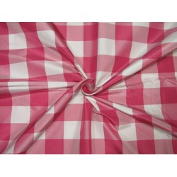 100% Silk Taffeta Fabric pink  and white  plaids TAFC65[2]