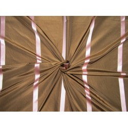 "100%Silk Taffeta Fabricbrown with pink satin stripes TAFS165[2] 54"" wide sold by the yard"