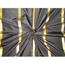 "100%Silk Taffeta black with gold  satin stripes TAFS165[1] 54"" wide sold by the yard"