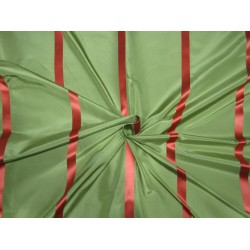 "100%Silk Taffeta green with bright salmon   satin stripes 54"" TAFS165[3]"