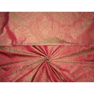 Silk taffeta jacquard fabric REVERSABLE GOLD X RED DAMASK