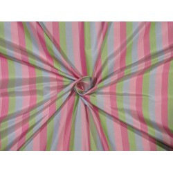 "100% Silk Taffeta Fabric pink green and blue Stripes TAFS162[2] 54"" wide sold by the yard"