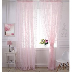 baby pink 100% COTTON GAUZE TAB CURTAIN, 44 INCHES w X 108 INCHES Length