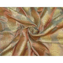 "Brocade fabric Rusty orange /sea green x metallic gold 44""wide Bro618[2]"