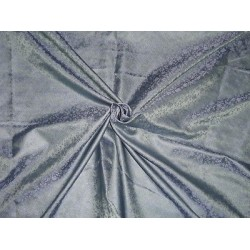 RICH 100% PURE SILK BROCADE FABRIC 1.20 yards CUT LENGTH Greyish BLUE & Dusty Lavender COLOUR 44""