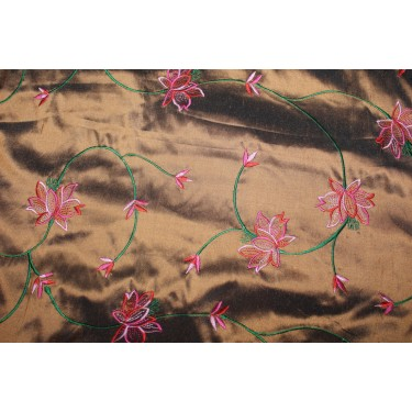 "100% SILK DUPION irredescent copper x green with pink, red  FLORAL EMBROIDERY 54""DUPE59[2]"