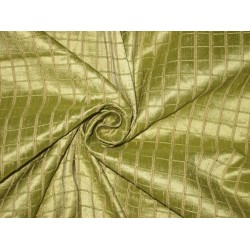 Pure SILK Dupioni FABRIC Green plaids