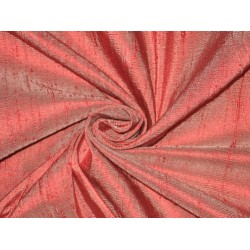 100% Pure SILK Dupioni FABRIC Red with Ivory shot