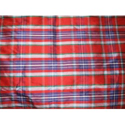 "SILK Dupioni FABRIC 54"" Multi colour checksDUPC19[2]"