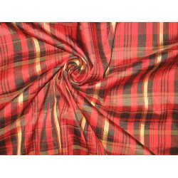 "SILK Dupioni FABRIC Red,Gold & Black colour plaids 54"" wide sold by the yard"