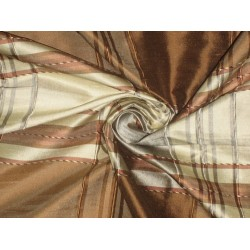 SILK Dupioni FABRIC Creamy Gold,Light Grey & Brown