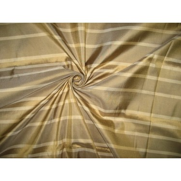 SILK Dupioni FABRIC Shades of Light & Dark Gold stripes