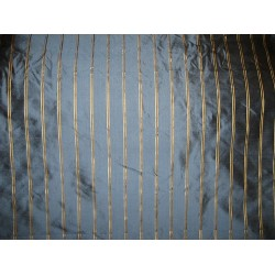 Silk Dupioni Fabric Greyish Blue with gold satin stripe