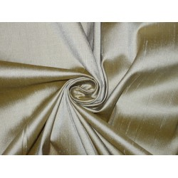 100% Pure SILK Dupioni FABRIC Grey with Mustard Shot