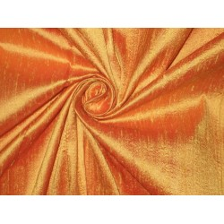 SILK Dupioni FABRIC Iridescent Mango Yellow x Orange