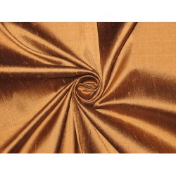 Pure SILK Dupioni FABRIC Brass x Black Shot color