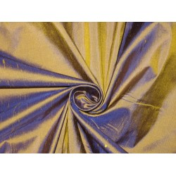Pure SILK Dupioni FABRIC Yellow x Blue color 54""