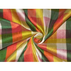 SILK Dupioni FABRIC Multi color plaids