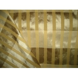 Pure SILK Dupioni FABRIC Plaids Shades of Gold,Brown & Cream with dobby stripes   sold by the yard