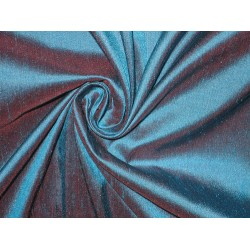 SILK Dupioni FABRIC Kingfisher Blue with Pink Shot 54