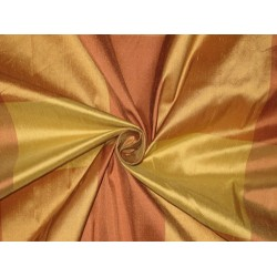 SILK Dupioni FABRIC Salmon & Golden Yellow color plaids