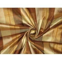 SILK Dupioni FABRIC Shades of Brown & Cream color plaids