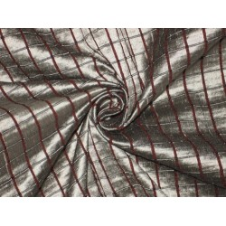 """SILK Dupioni FABRIC Silver & Red color  """"Waffle """"plaids"""