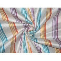 SILK Dupioni FABRIC Multi color stripes