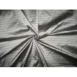 SILK Dupioni FABRIC Greyish Silver color stripes