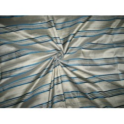 SILK Dupioni FABRIC Greyish Silver & Blue color satin stripes DUPSS3[2]