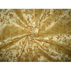 Polyester Dupioni FABRIC Gold & Mustard color with flock print